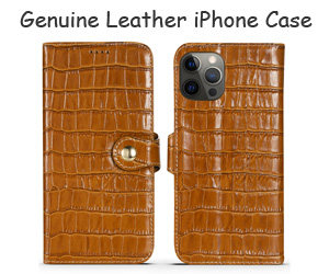 Genuine Leather Card Holder iPhone Case Crocodile Pattern