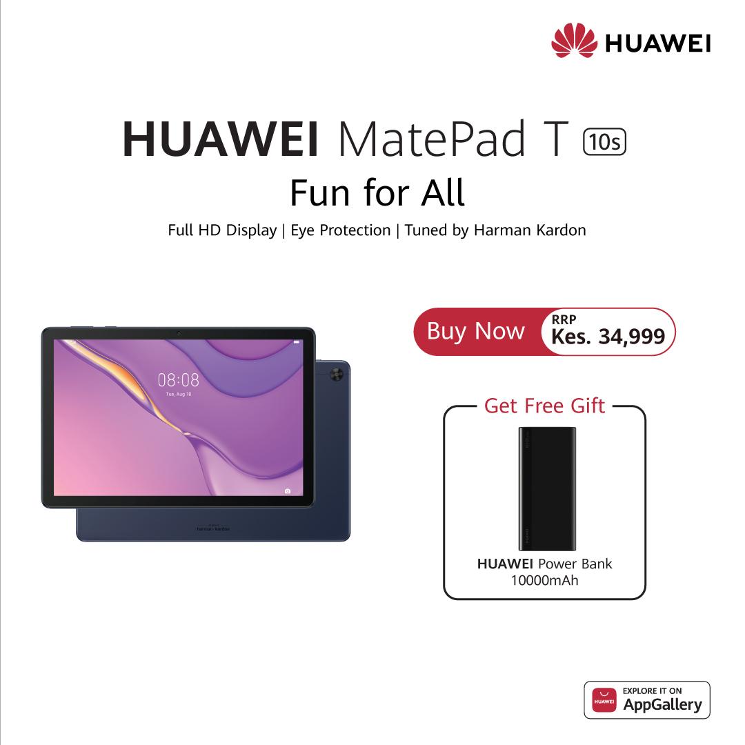 Buy Hauwei Matepad T10s & Get Free Huawei Powerbank 10000 mAh Worth Ksh 3,999