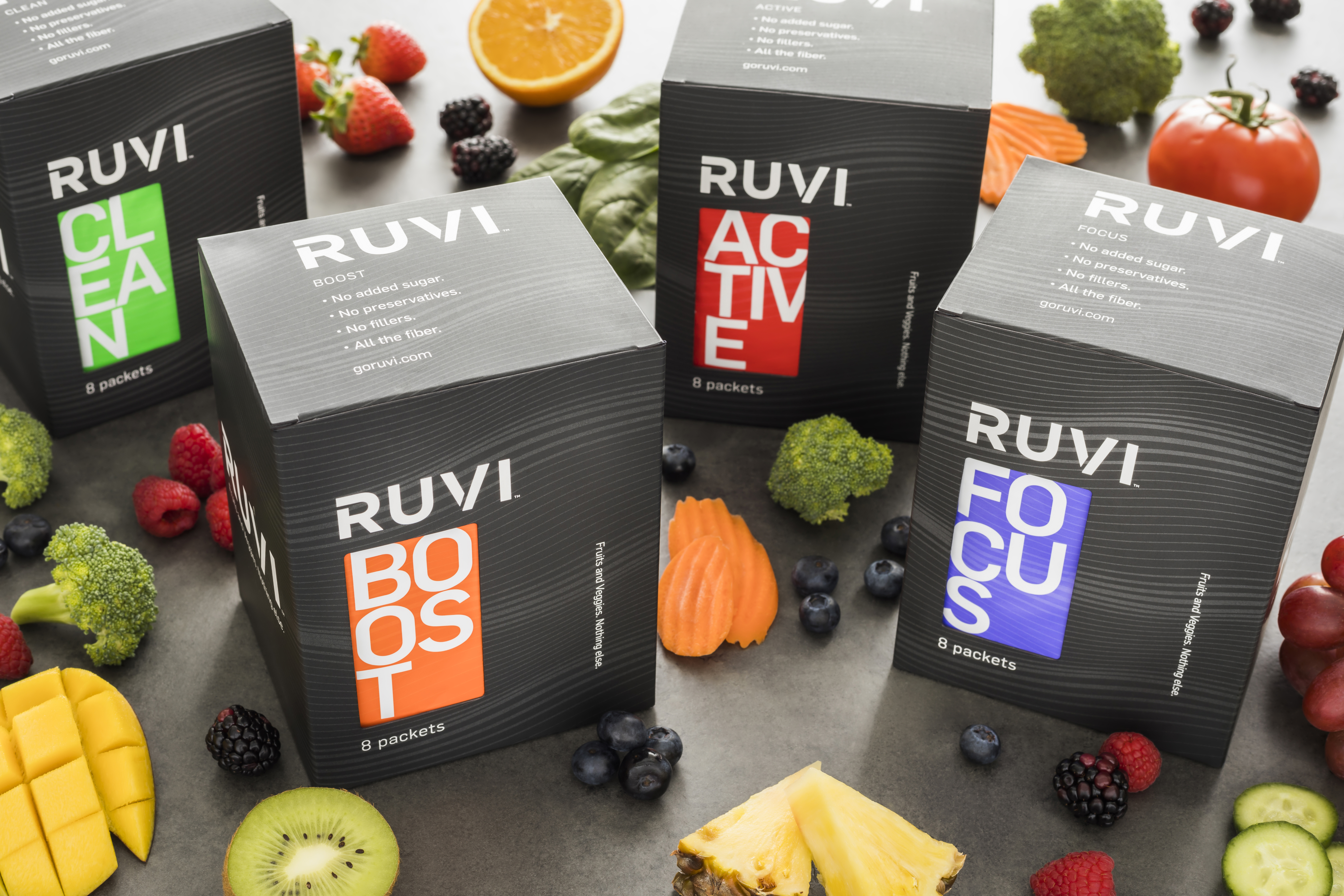 Ruvi gives you 26 whole fruits and veggies. Nothing else.